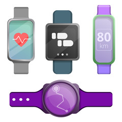 Fitness tracker icons set. Cartoon set of fitness tracker vector icons for web design