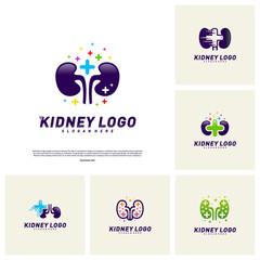 Set of Kidney with Plus Health Logo Design Concept. Urology Logo Vector Template