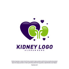 Love Kidney Logo Design Concept. Urology Logo Vector Template