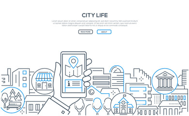 City life - modern line design style web banner