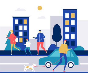 People running - flat design style colorful illustration
