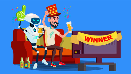 Robot Football Fan. Hat, Beer, Tv Screen With Friend Vector. Isolated Illustration