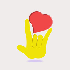 Hand language, I love You graphic vector.