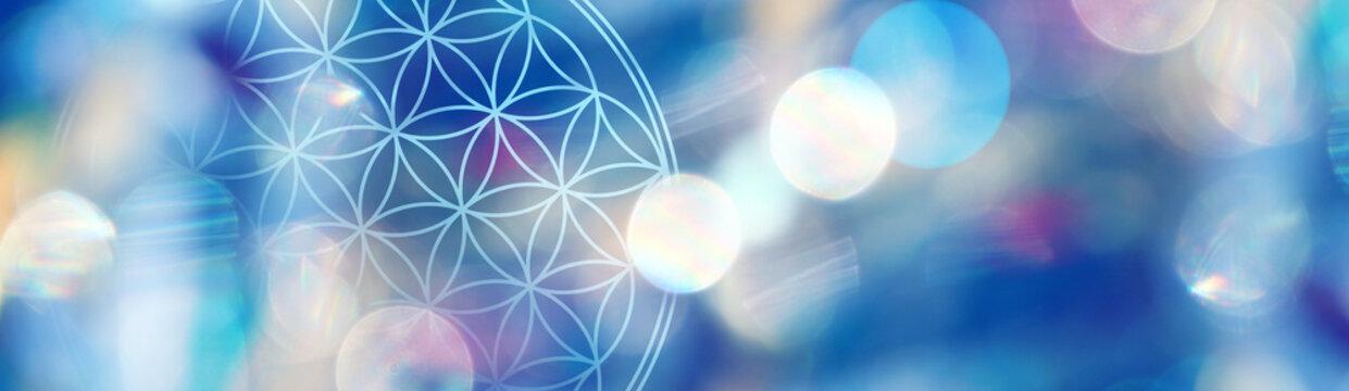 Banner Blume des Lebens in kosmischem Lichterfeld