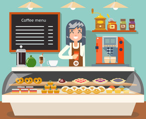 Cafe coffee shop woman business interior female seller bakery taste sweets flat design vector illustration