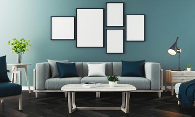 Modern living room, 3d rendering