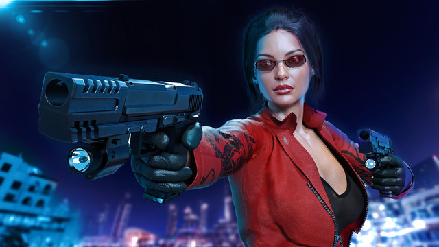 Action girl with guns, woman in red leather suit shooting hand weapons in the night city, front view, 3D rendering