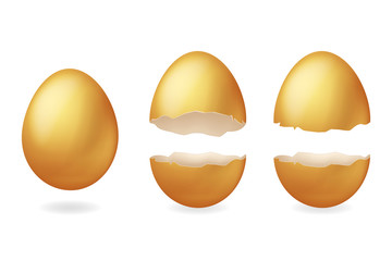 Golden broken eggs cracked open easter eggshell design 3d realistic icon isolated vector illustration