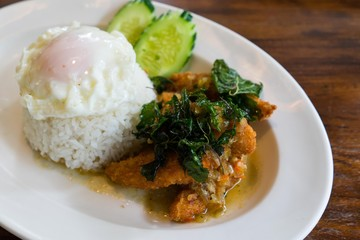Spicy fried with basil leaves rice and Fried egg