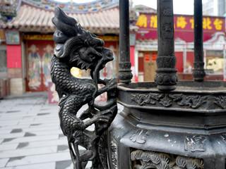 台湾の寺の香、石像