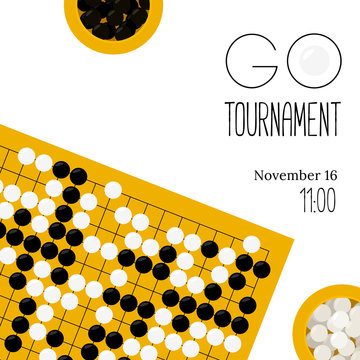 Vector go tournament poster with goban and bowls