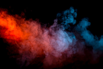 Collision of two streams of smoke with the transition of the colors of blue and red through the pigment molecules on a black background.