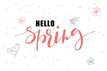 vector hand lettering hello spring greetings label with doodle hanging baubles and flowers