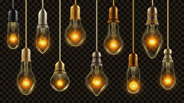 Light Bulb Vintage Set Vector. Glowing Shine Lamp. Transparent 3D Realistic Electric Retro Loft Or Steampunk Style Hanging Decorative Lights Illustration