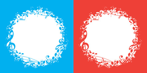 blue and red vector music backgrounds with white center and musical notes