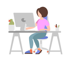 Woman working on computer on white background