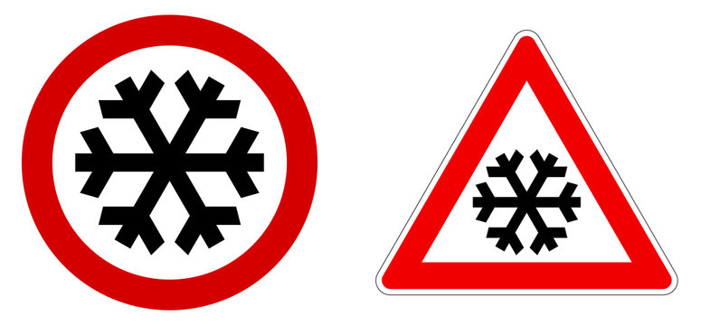 Careful snow / cold / winter sign. Black snowflake in red circle and triangle.