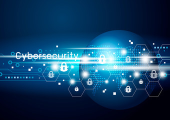 Cybersecurity and global network vector illustration