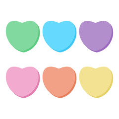 Rainbow Candy Hearts Collection - Cute blank rainbow conversation hearts candy with copy space for Valentine's Day isolated on white background