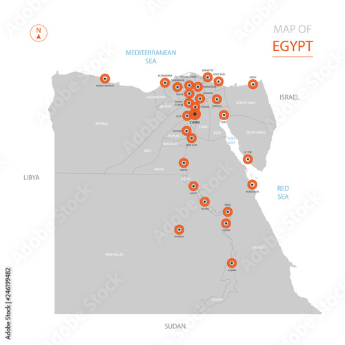 Stylized vector Egypt map showing big cities, capital Cairo ...