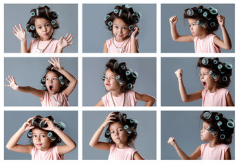 collage of portraits of little girl in hair curlers with different emotions