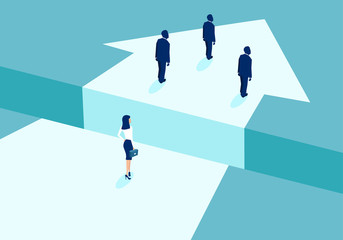 Vector of a businesswoman lagging behind businessmen and divided by gap.