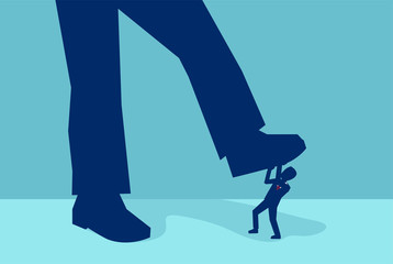 Vector of a little businessman being crushed by a giant foot