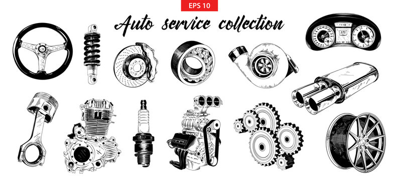 Vector engraved style illustration for posters, decoration. Hand drawn sketch set of auto or car service elements isolated on white background. Detailed vintage etching drawing.