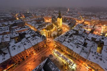In de dag Oost Europa Lviv in winter time. Picturesque evening view on city center from top of town hall. Eastern Europe, Ukraine