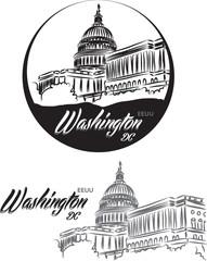 TOURISTIC LABEL Washington United States lettering illustration