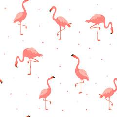 Tuinposter Flamingo Seamless hawaiian pattern with pink flamingos