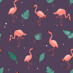 Canvas Prints Flamingo Seamless vector pattern with flamingos and leaves