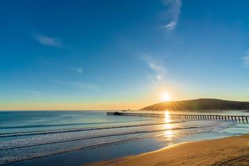 Panoramic Beach Scene at Sunset