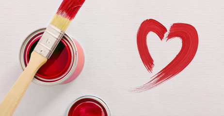 Background with paint pot and brush and red heart top