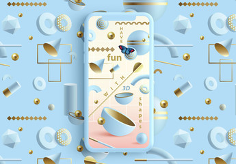 Pastel Social Media Layouts with Abstract 3D Patterns