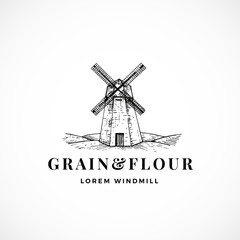 Grain and Flour Abstract Vector Sign, Symbol or Logo Template. Hand Drawn Windmill Sketch Illustration and Retro Typography. Vintage Luxury Emblem.