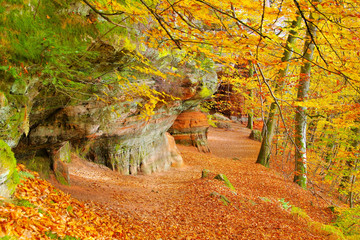 Altschlossfelsen im Dahner Felsenland im Herbst - Altschlossfelsen rock in Dahn Rockland, Germany