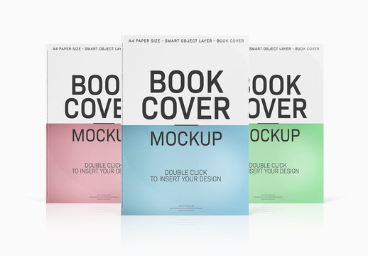 3 Book Covers Isolated on White Mockup