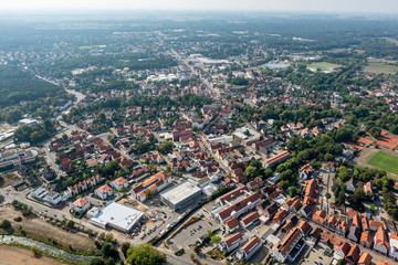 Central area of a North German district town taken from the air