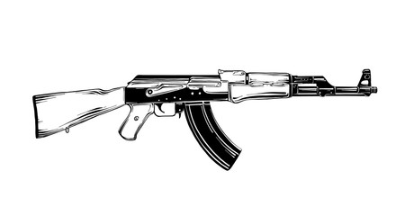 Vector engraved style illustration for posters, decoration and print. Hand drawn sketch of Kalashnikov assault rifle in black isolated on white background. Detailed vintage etching style drawing.
