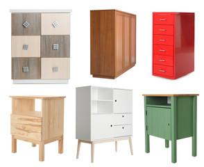 Fototapeta Set of different stylish furniture for wardrobe isolated on white obraz