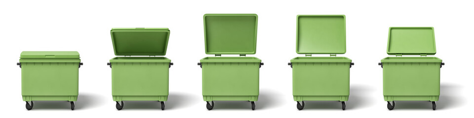3d rendering of several light-green dumpsters in a row on white background.