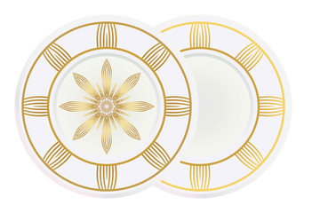 floral ornament plate for wall desight. vector illustration
