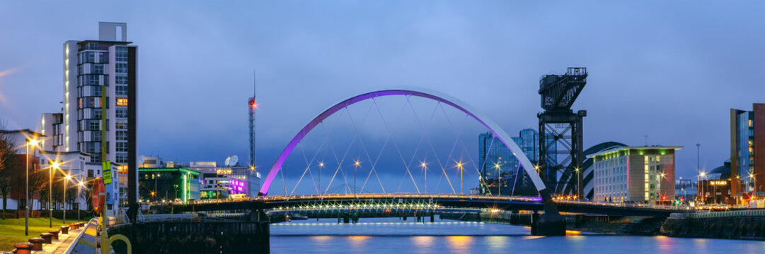 Skyline of Glasgow at the Pacific Quay, Scotland, UK