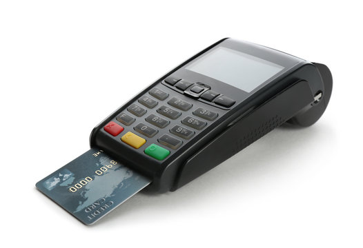 Modern payment terminal with credit card on white background. Space for text