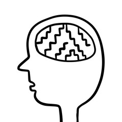 Human head with stairs inside brain hand drawn illustration