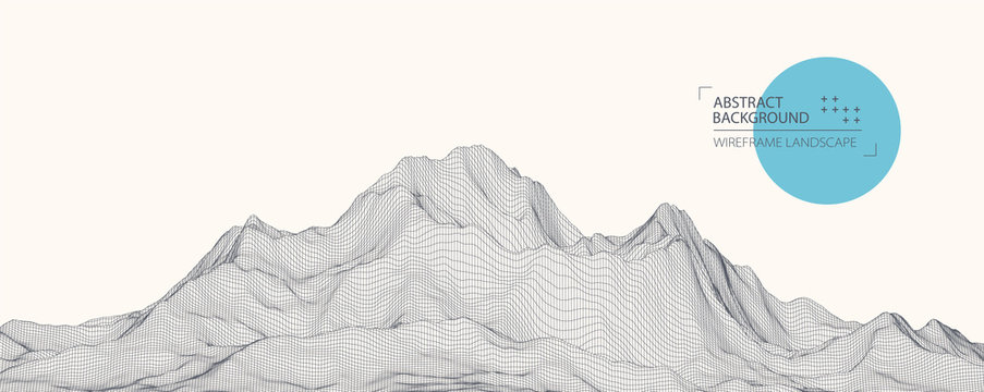 Wireframe landscape background. Futuristic vector illustration.