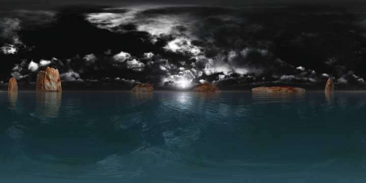 HDRI, environment map , Round panorama, spherical panorama, equidistant projection, panorama 360, Night landscape, the moon above the water
