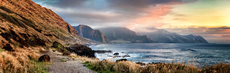 Sunset from Kaena Point on the west coast of Oahu, Hawaii on a cloudy day
