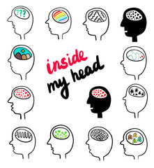 Inside my head hand drawn set of different heads with brains